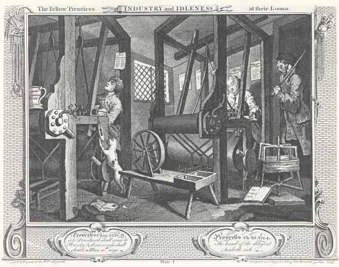 William_Hogarth_-_Industry_and_Idleness,_Plate_1;_The_Fellow_'Prentices_at_their_Looms