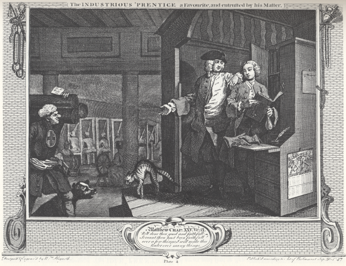 1280px-William_Hogarth_-_Industry_and_Idleness,_Plate_4;_The_Industrious_'Prentice_a_Favourite,_and_entrusted_by_his_Master