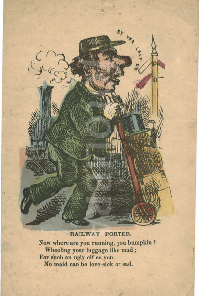 Victorian valentine of Railway porter c 1840